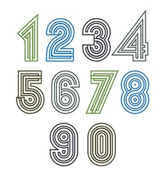 Retro geometric unusual striped numeration poster vector