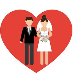 Cartoon of a boy and a girl in wedding dress vector