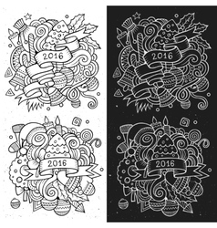New year doodles elements sketchy and chalkboard vector