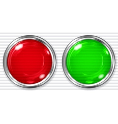 Red and green transparent button vector