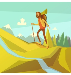 Hiking and mountaineering vector