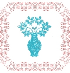 Card with frame and vase in sketch style vector