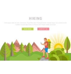 Web banner hiking vector