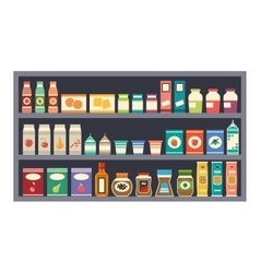 Shelves with products vector