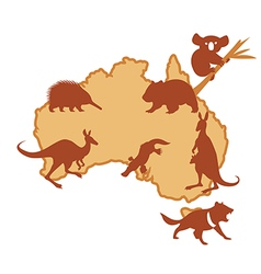 Australia with silhouettes of animals vector
