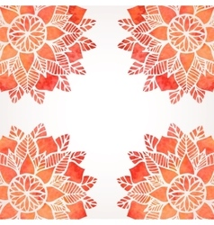Background with watercolor red flower pattern vector image