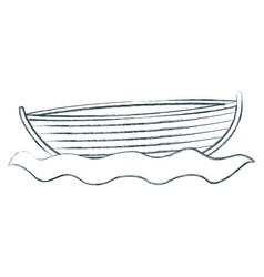 Blurred sketch silhouette wooden fishing boat in vector