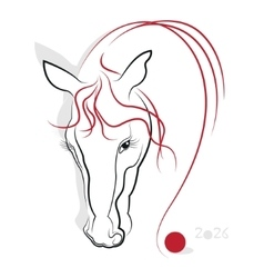 Chinese Calligraphy Horse 2026 vector image
