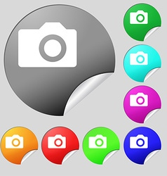 Digital photo camera icon sign Set of eight vector image vector image