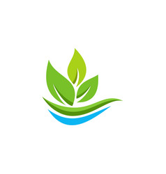 eco leaf organic logo vector image vector image