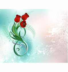 Eight with red tulips vector