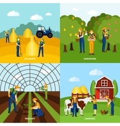 Farming 4 flat icons square poster vector image vector image