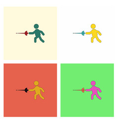 Fencing player fencer swordsman athletes vector