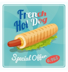 French hot dog poster vector