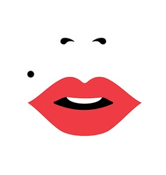 Girl face with red lipstick womens day concept art vector image vector image