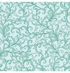 Green floral swirls seamless pattern vector