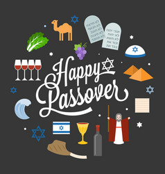 Happy passover poster pictogram with moses vector
