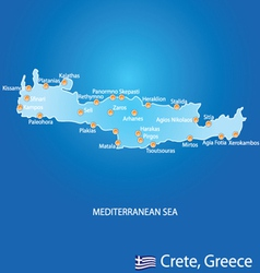 Island of Crete in Greece map vector image