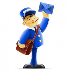 mail carrier with bag and vector image vector image