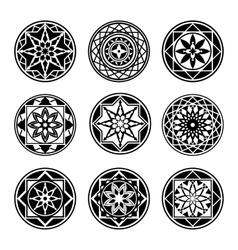 Mandala elements tattoo icon set star floral vector