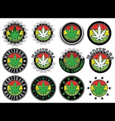 marijuana cannabis green leaf symbol stamps vector image vector image