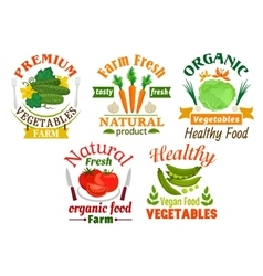 Natural vegetables cartoon badges set vector