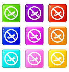 No locust sign icons 9 set vector