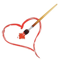 Paintbrush and red heart vector