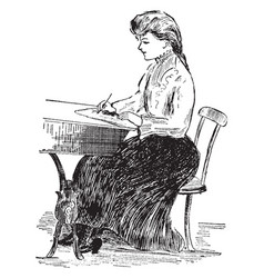 Penmanship posture or correct writing posture vector