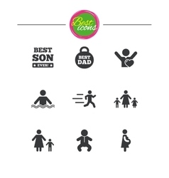 People family icons swimming baby signs vector