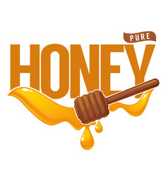 Pure honey symbol logo label emblem honey vector