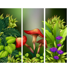 Scene with flowers and green leaves vector