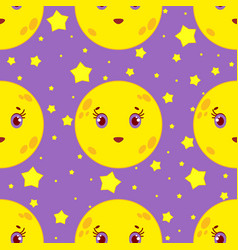 seamless pattern of cartoon smiling moon with vector image vector image