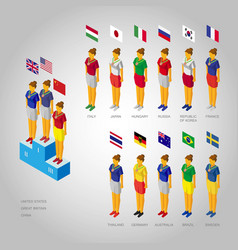 Set of girls weared in national colors with flags vector