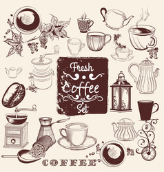 set of hand drawn coffee elements for design vector image vector image