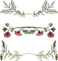 Set of watercolor floral borders vector image