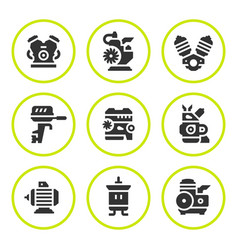 Set round icons of motor and engine vector