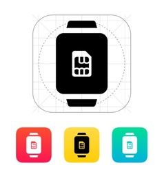 Sim card in watch icon vector