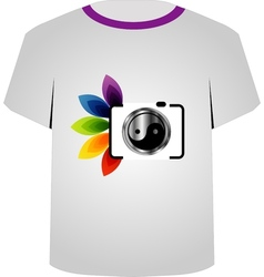 T Shirt Template- digital camera vector image vector image