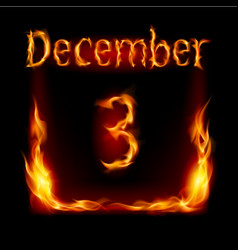 third december in calendar of fire icon on black vector image