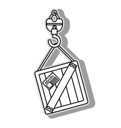 Under construction crane icon vector