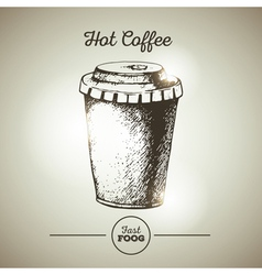 Vintage fast food cup of coffee sketch vector