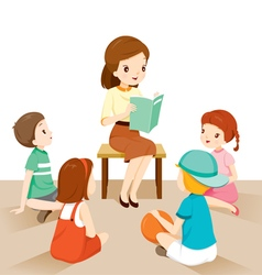 Woman teachers telling story to students vector