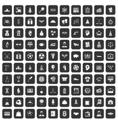 100 success icons set black vector