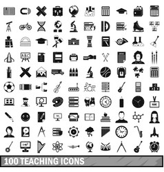 100 teaching icons set simple style vector