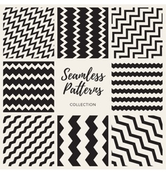 Set of eight seamless zigzag lines patterns vector