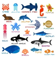Oceanarium ocean animals and fishes with names vector