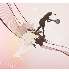 Tennis girl with stains and blots vector