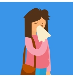 Cartoon sick flu woman vector