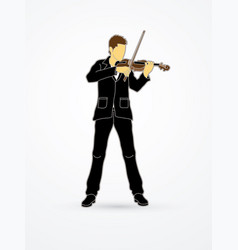 violinist player a man play violin classic music vector image